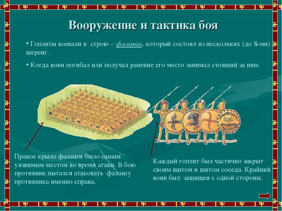 Вооружение и тактика боя Гоплиты воевали в строю – фаланга, который состоял и...