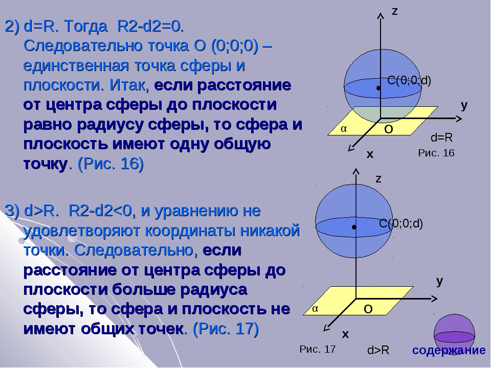 2) d=R. Тогда R2-d2=0. Следовательно точка О (0;0;0) – единственная точка сфе...