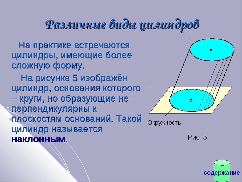 Различные виды цилиндров На практике встречаются цилиндры, имеющие более слож...