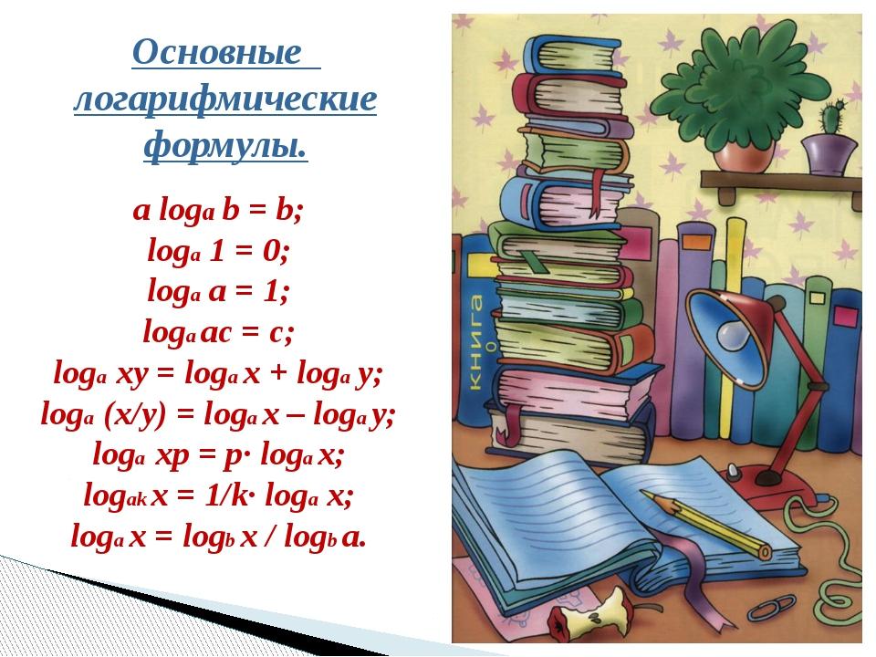 Основные логарифмические формулы. a loga b = b; loga 1 = 0; loga a = 1; loga...