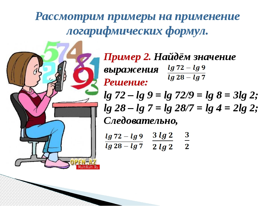 Рассмотрим примеры на применение логарифмических формул. Пример 2. Найдём зна...