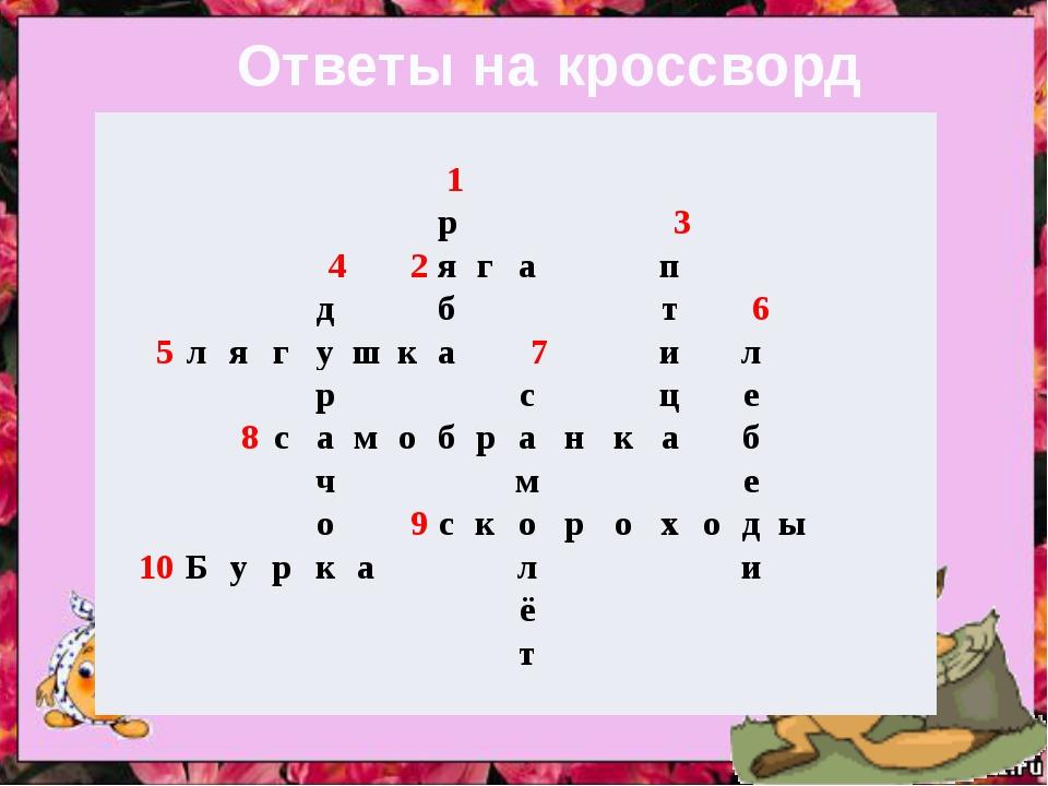 Ответы на кроссворд «Знаешь ли ты сказки?» 1 р 3 4 2 я г а п д б т 6 5 л я г...