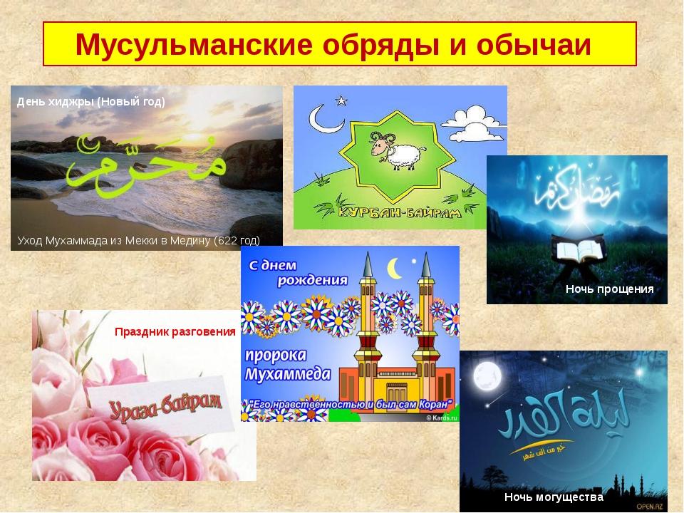 Мусульманские обряды и обычаи День хиджры (Новый год) Уход Мухаммада из Мекк...