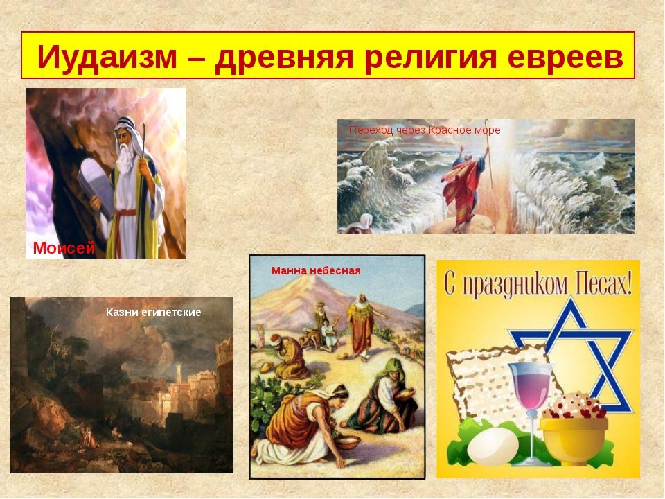 Иудаизм – древняя религия евреев Моисей Переход через Красное море Казни еги...