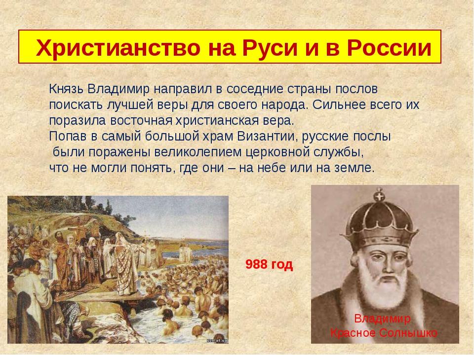 Христианство на Руси и в России 988 год Владимир Красное Солнышко Князь Влад...