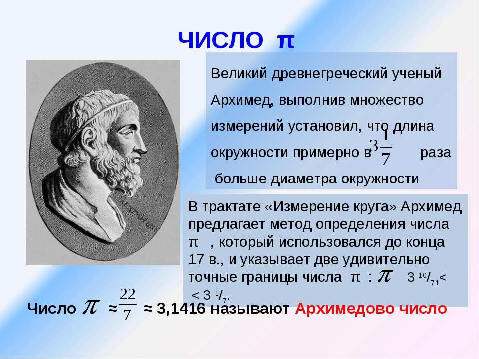 ЧИСЛО π Великий древнегреческий ученый Архимед, выполнив множество измерений...