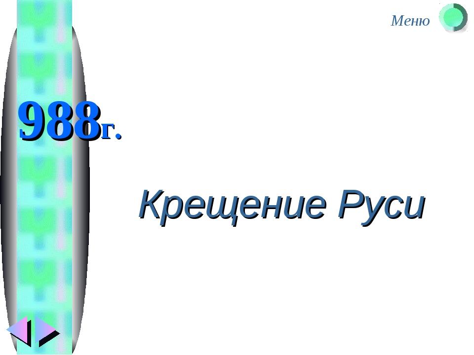 988г. Крещение Руси Меню