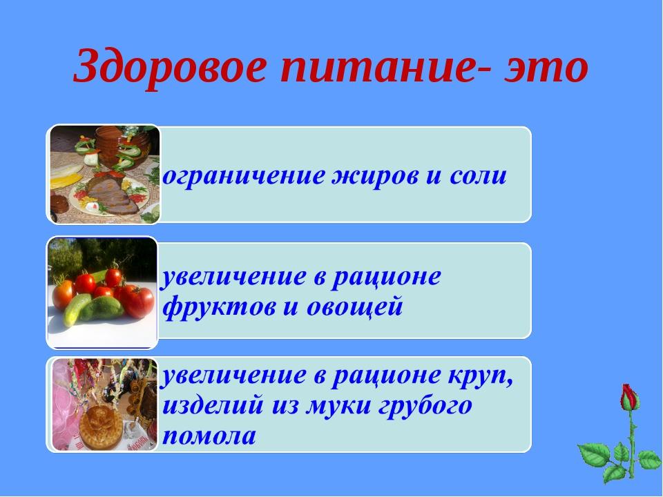 Здоровое питание- это
