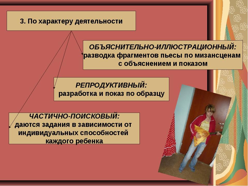 3. По характеру деятельности ОБЪЯСНИТЕЛЬНО-ИЛЛЮСТРАЦИОННЫЙ: разводка фрагмен...