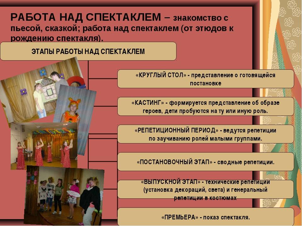 РАБОТА НАД СПЕКТАКЛЕМ – знакомство с пьесой, сказкой; работа над спектаклем (...