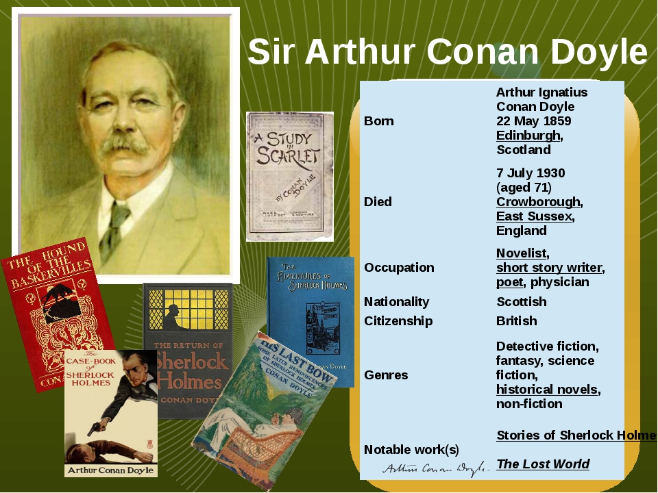 Sir Arthur Conan Doyle Born Arthur Ignatius Conan Doyle 22 May 1859 Edinburgh...