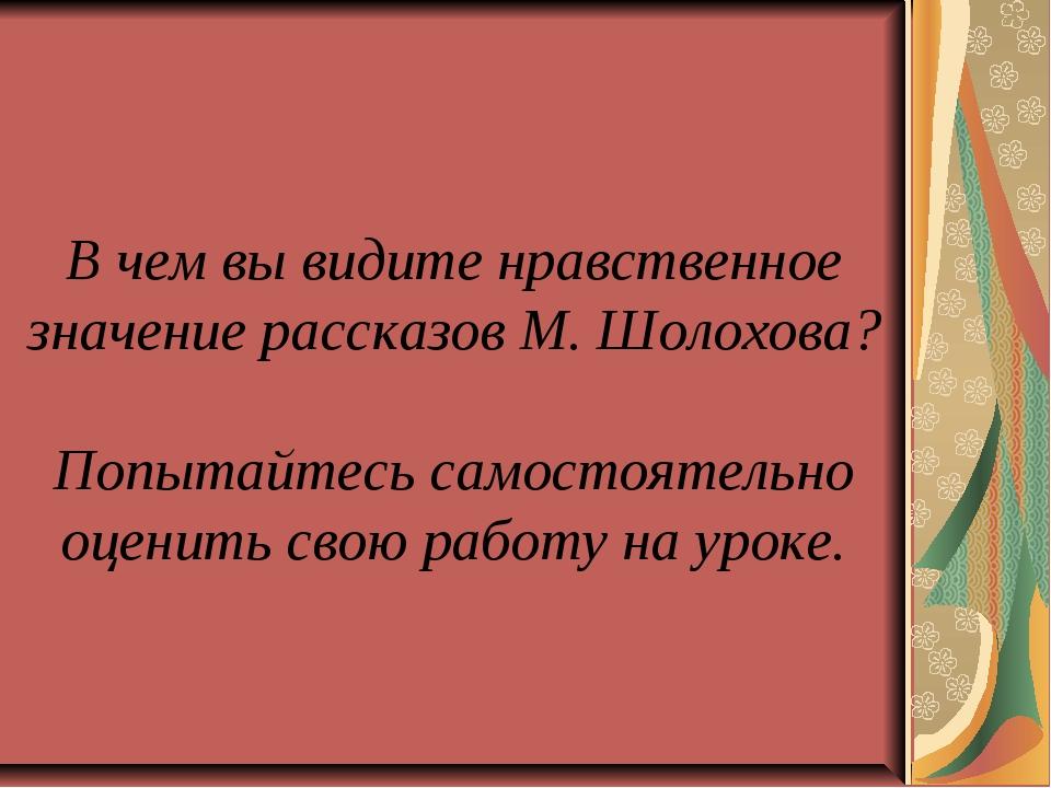В чем вы видите нравственное значение рассказов М. Шолохова? Попытайтесь сам...