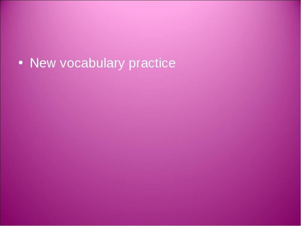 New vocabulary practice