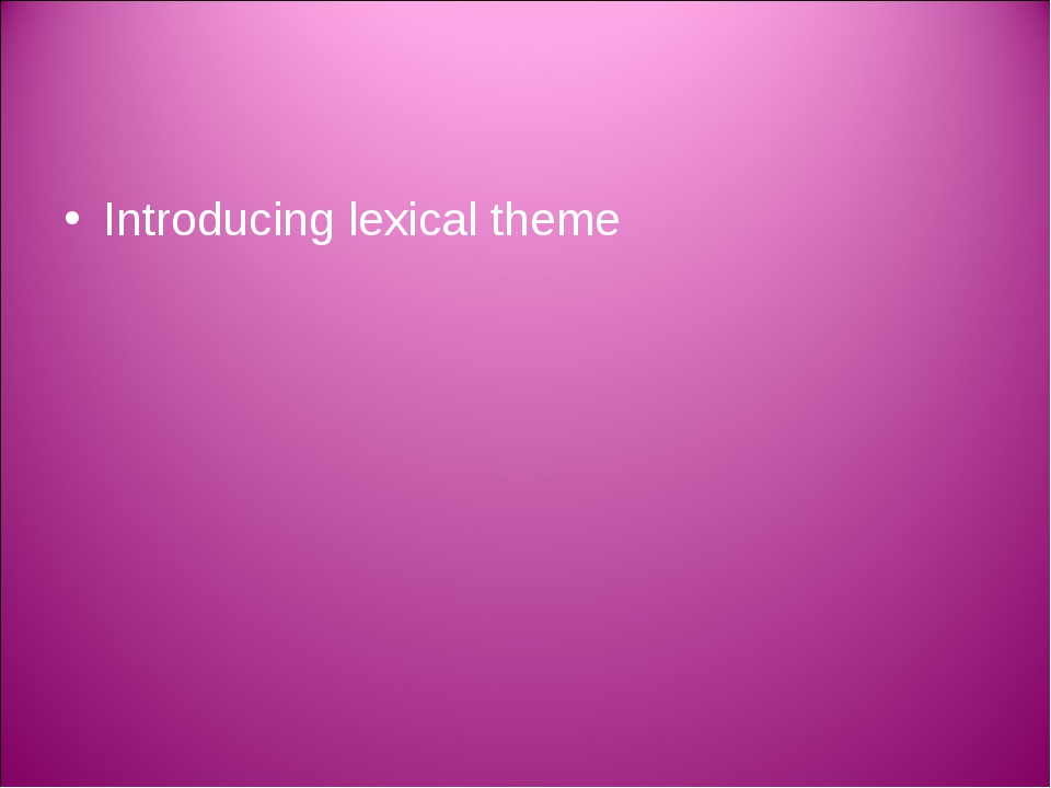 Introducing lexical theme