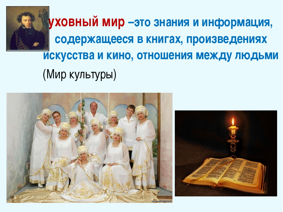 Духовный мир –это знания и информация, содержащееся в книгах, произведениях и...