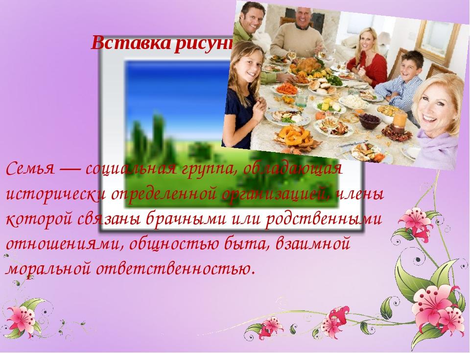 Семья — социальная группа, обладающая исторически определенной организацией,...