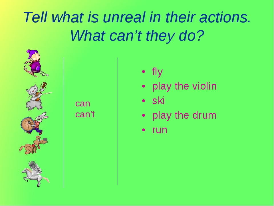 Tell what is unreal in their actions. What can't they do? fly play the violin...