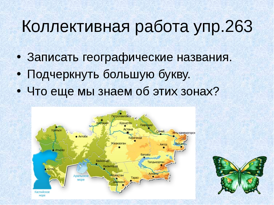 Коллективная работа упр.263 Записать географические названия. Подчеркнуть бол...