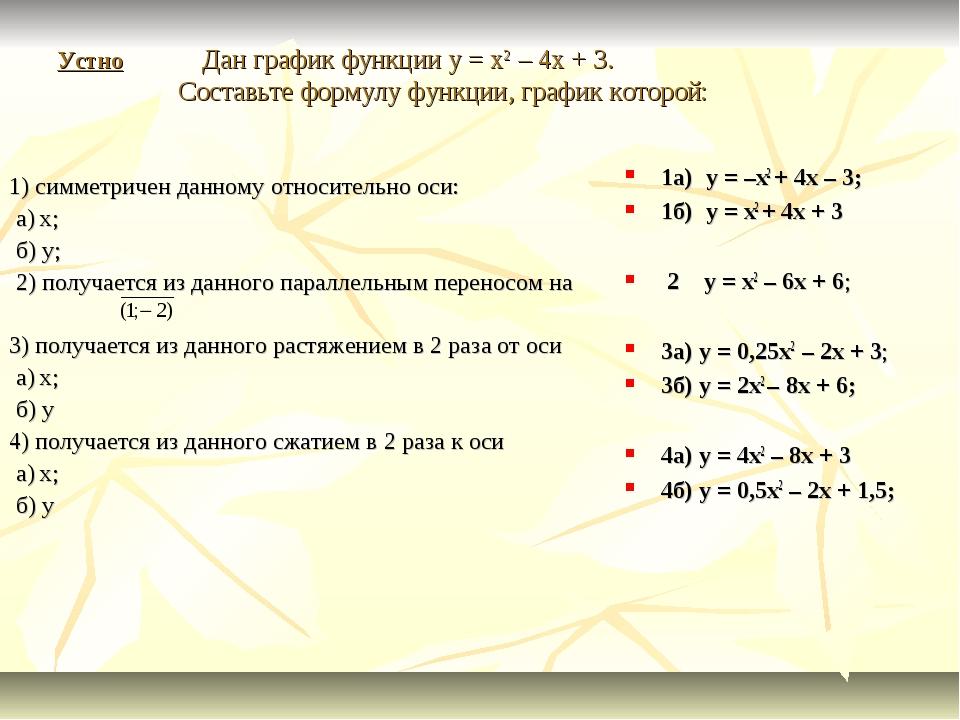 Устно Дан график функции y = x2 – 4x + 3. Составьте формулу функции, график к...