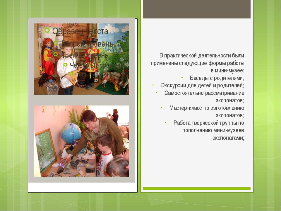 В практической деятельности были применены следующие формы работы в мини-музе...