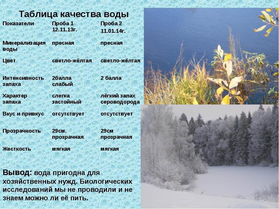 Таблица качества воды Вывод: вода пригодна для хозяйственных нужд. Биологичес...