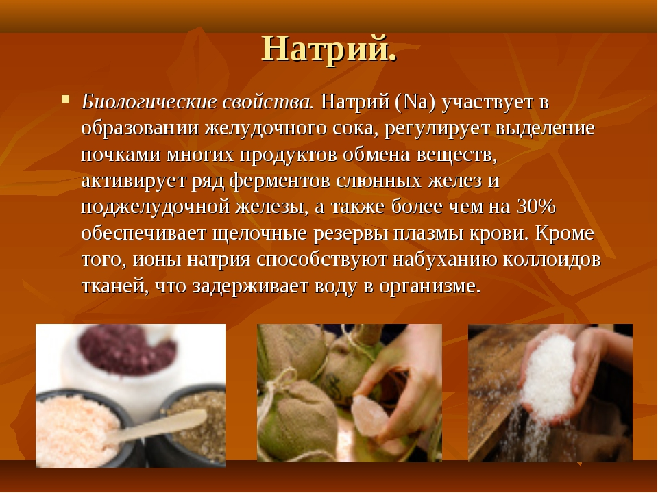 Натрий. Биологические свойства. Натрий (Na) участвует в образовании желудочно...