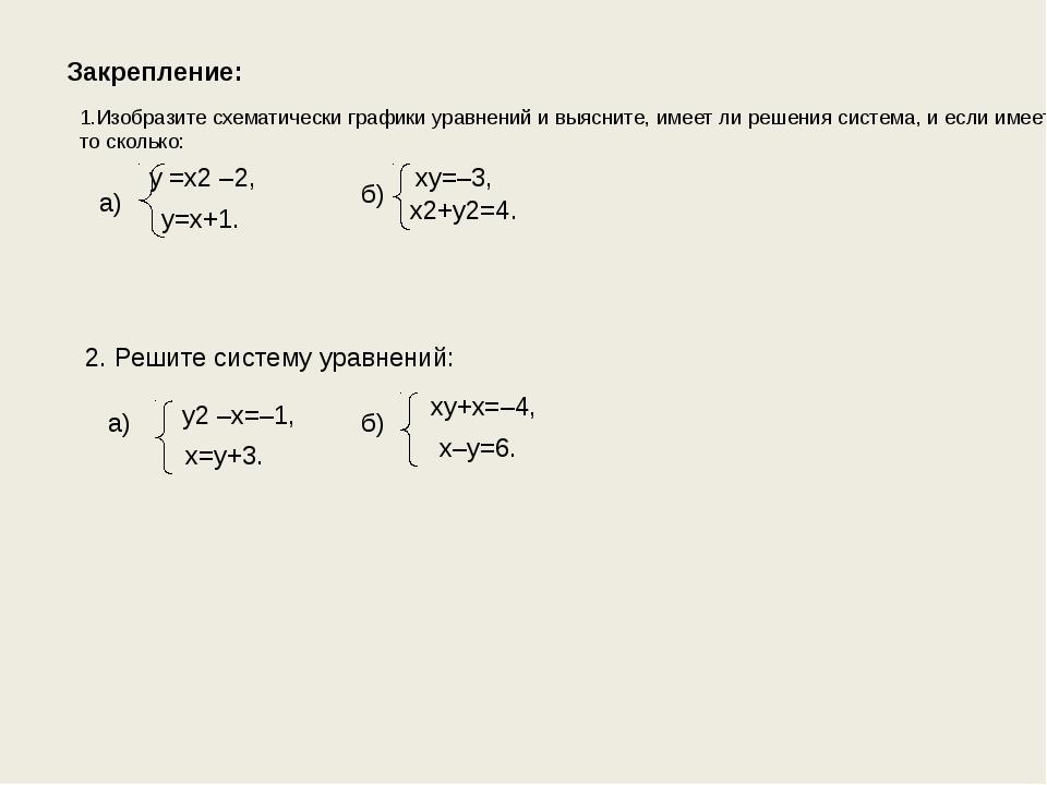 Закрепление: Изобразите схематически графики уравнений и выясните, имеет ли р...