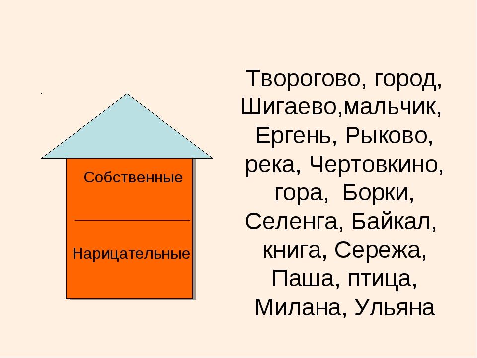 Собственные Нарицательные Творогово, город, Шигаево,мальчик, Ергень, Рыково,...