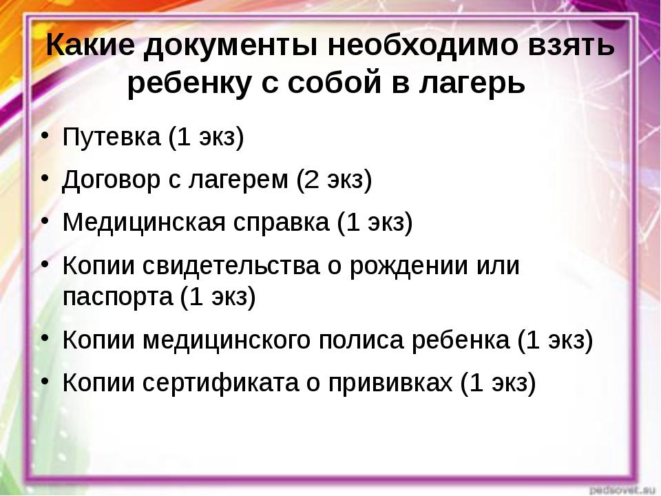 Какие документы необходимо взять ребенку с собой в лагерь Путевка (1 экз) Дог...