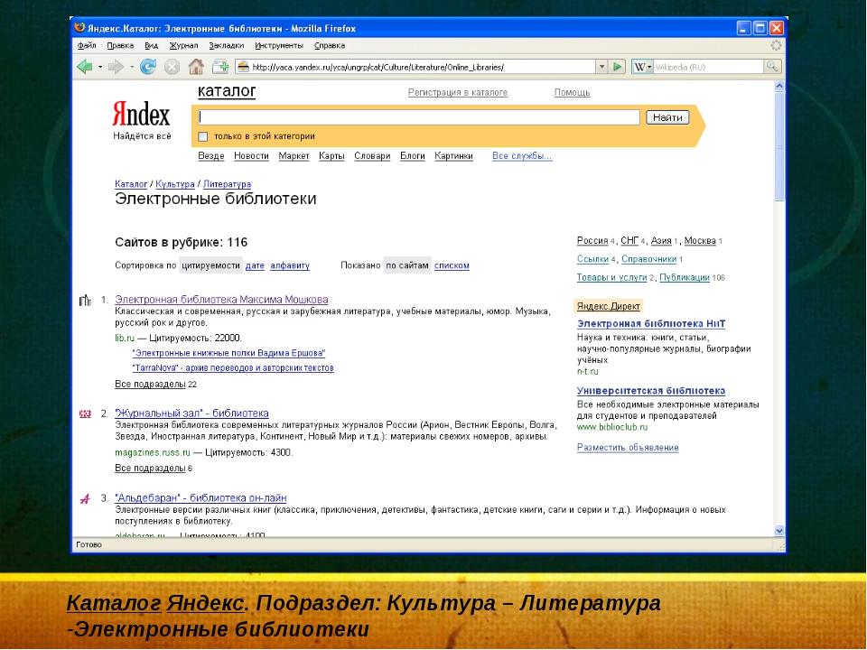 Каталог Яндекс. Подраздел: Культура – Литература -Электронные библиотеки