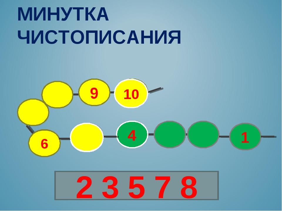 6 10 9 4 1 МИНУТКА ЧИСТОПИСАНИЯ 10 2 3 5 7 8 10