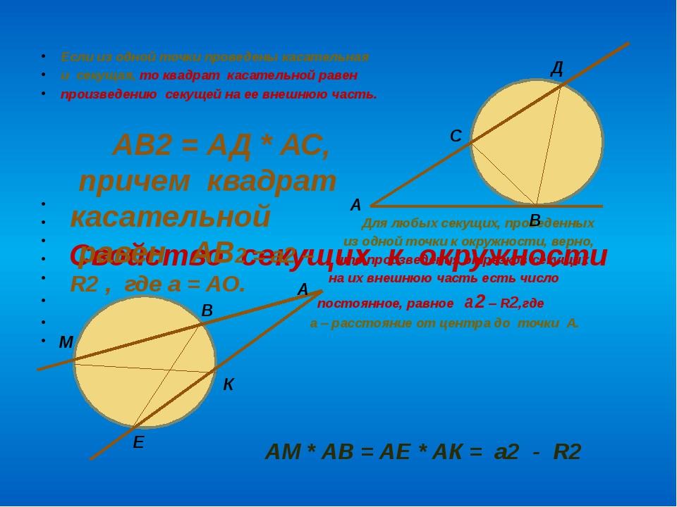 Свойство секущих к окружности Если из одной точки проведены касательная и сек...