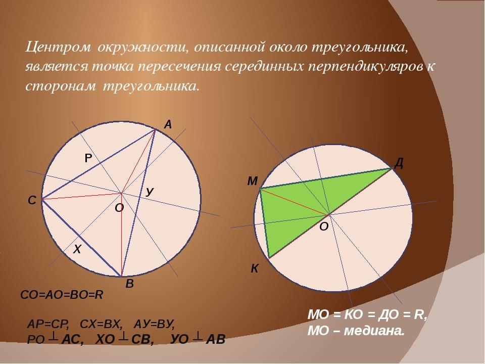 Центром окружности, описанной около треугольника, является точка пересечения...