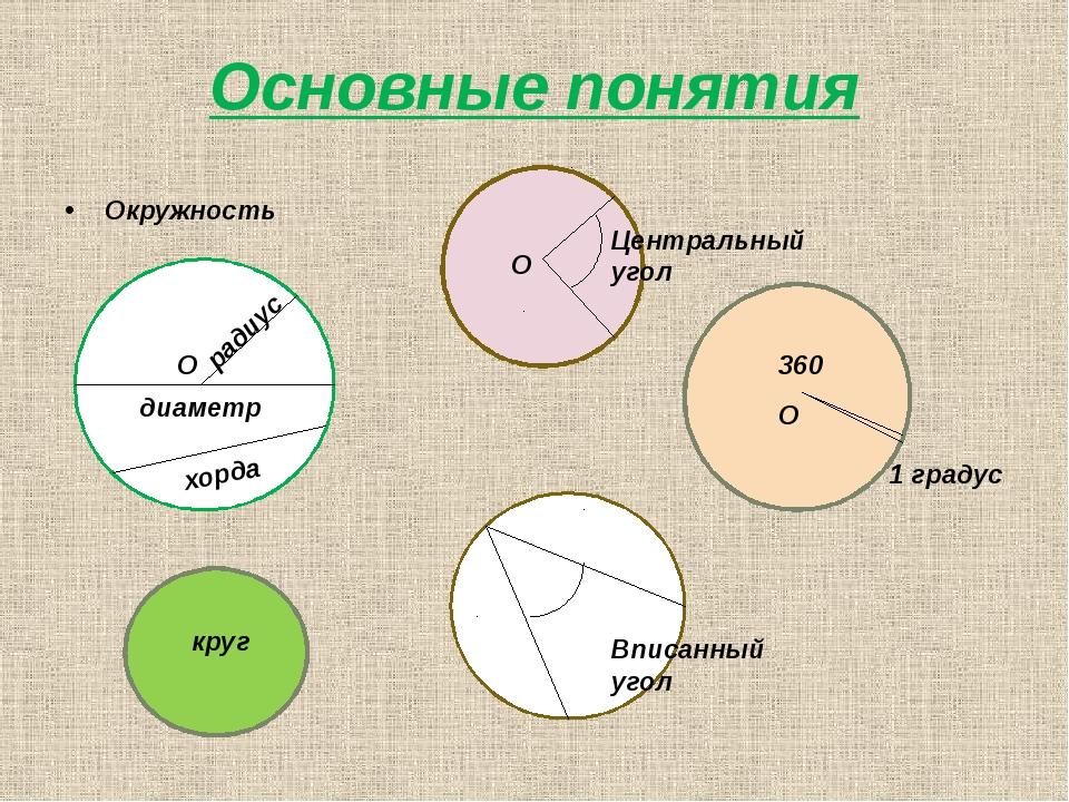 Основные понятия Окружность радиус диаметр хорда круг Центральный угол Вписан...
