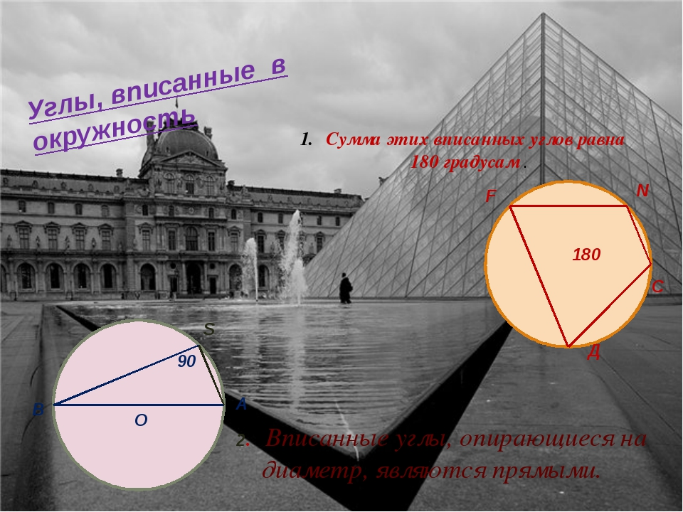 Углы, вписанные в окружность 2. Вписанные углы, опирающиеся на диаметр, являю...