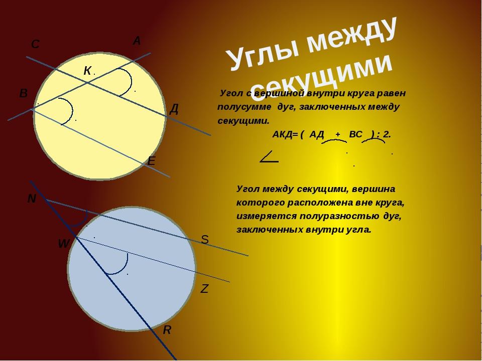 Углы между секущими Угол с вершиной внутри круга равен полусумме дуг, заключе...