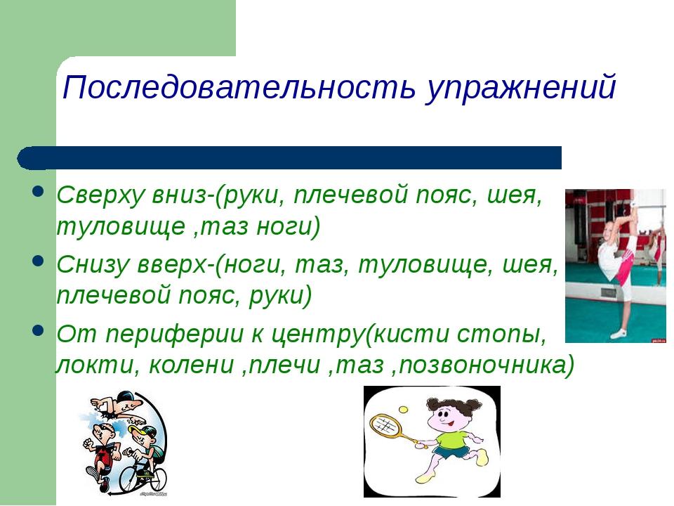 Последовательность упражнений Сверху вниз-(руки, плечевой пояс, шея, туловище...