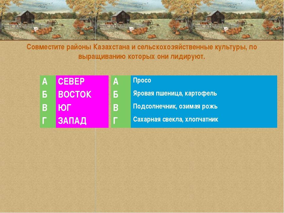 Совместите районы Казахстана и сельскохозяйственные культуры, по выращиван...