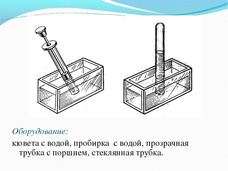 Оборудование: кювета с водой, пробирка с водой, прозрачная трубка с поршнем,...