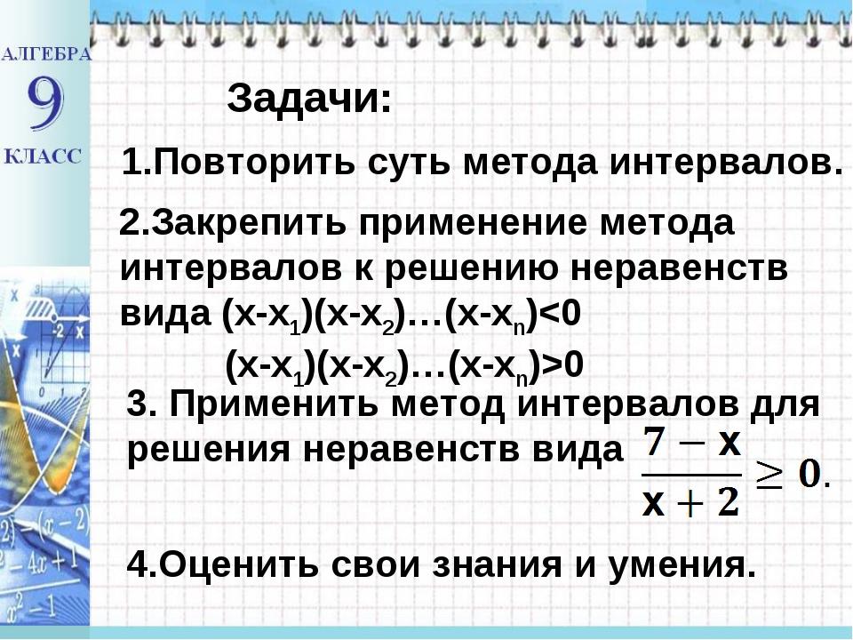 Задачи: 1.Повторить суть метода интервалов. 2.Закрепить применение метода инт...