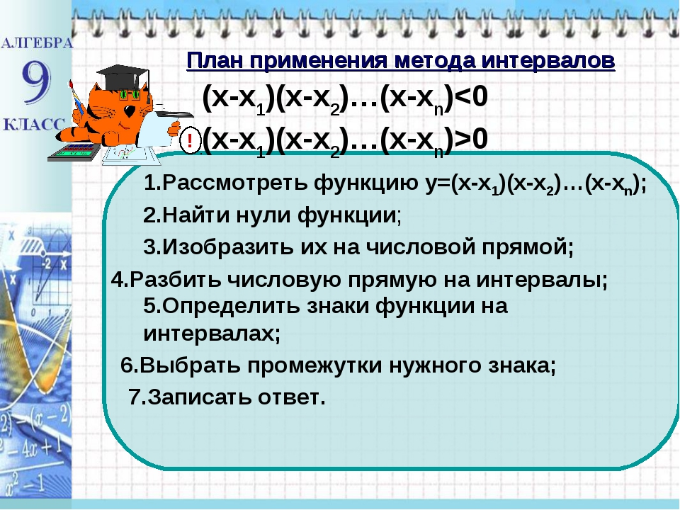 План применения метода интервалов ! (x-x1)(x-x2)…(x-xn)0 1.Рассмотреть функци...
