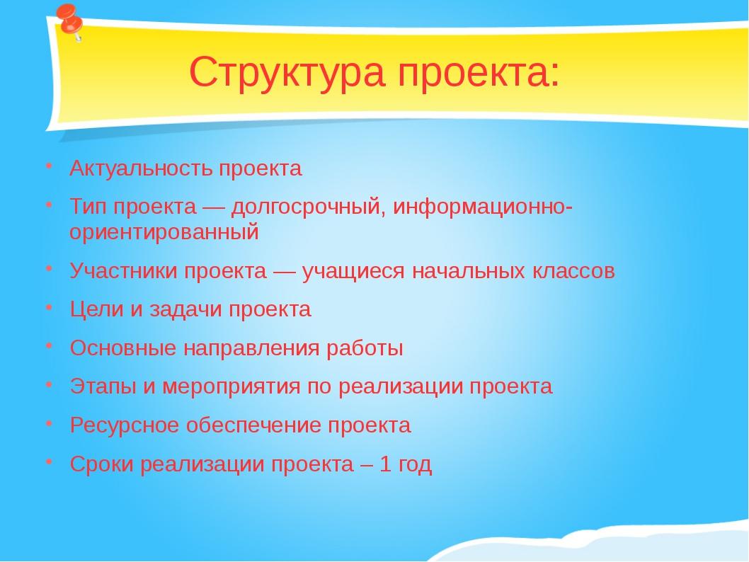 Структура проекта: Актуальность проекта Тип проекта — долгосрочный, информаци...