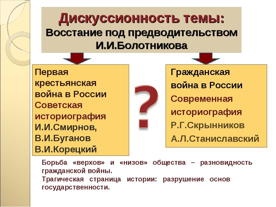Дискуссионность темы: Восстание под предводительством И.И.Болотникова Граждан...