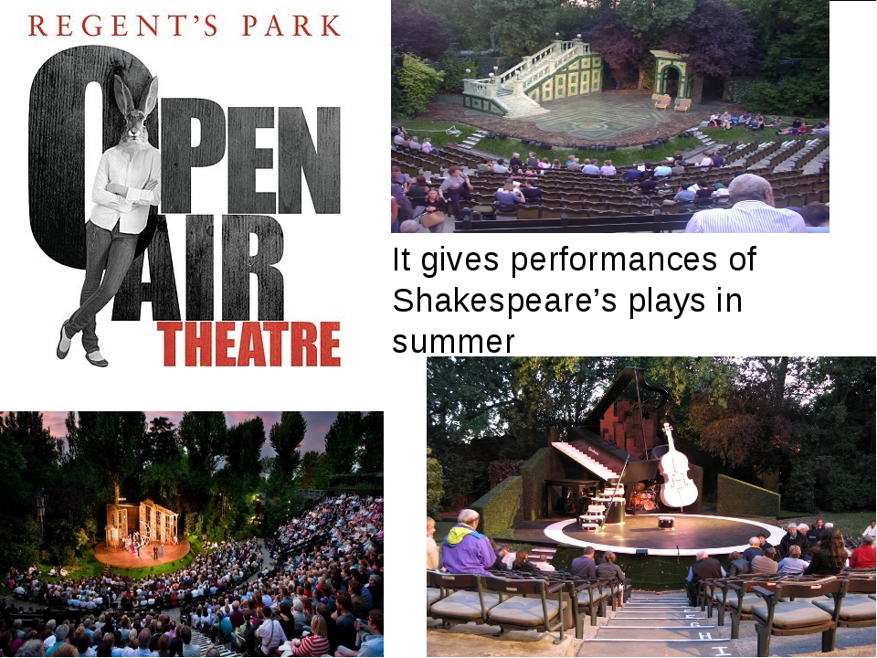 It gives performances of Shakespeare's plays in summer