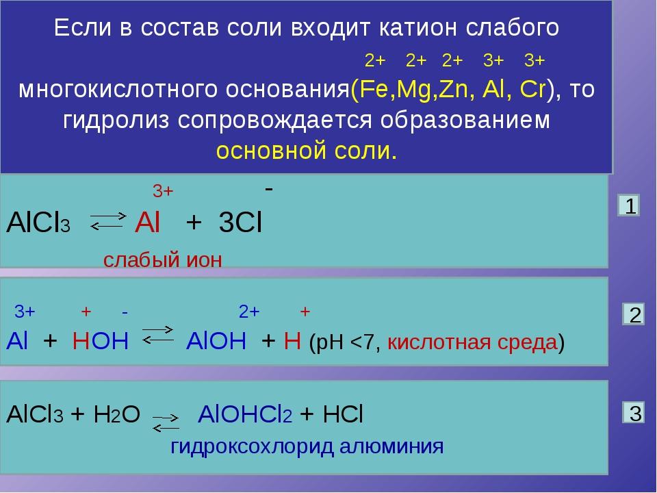 Если в состав соли входит катион слабого 2+ 2+ 2+ 3+ 3+ многокислотного основ...