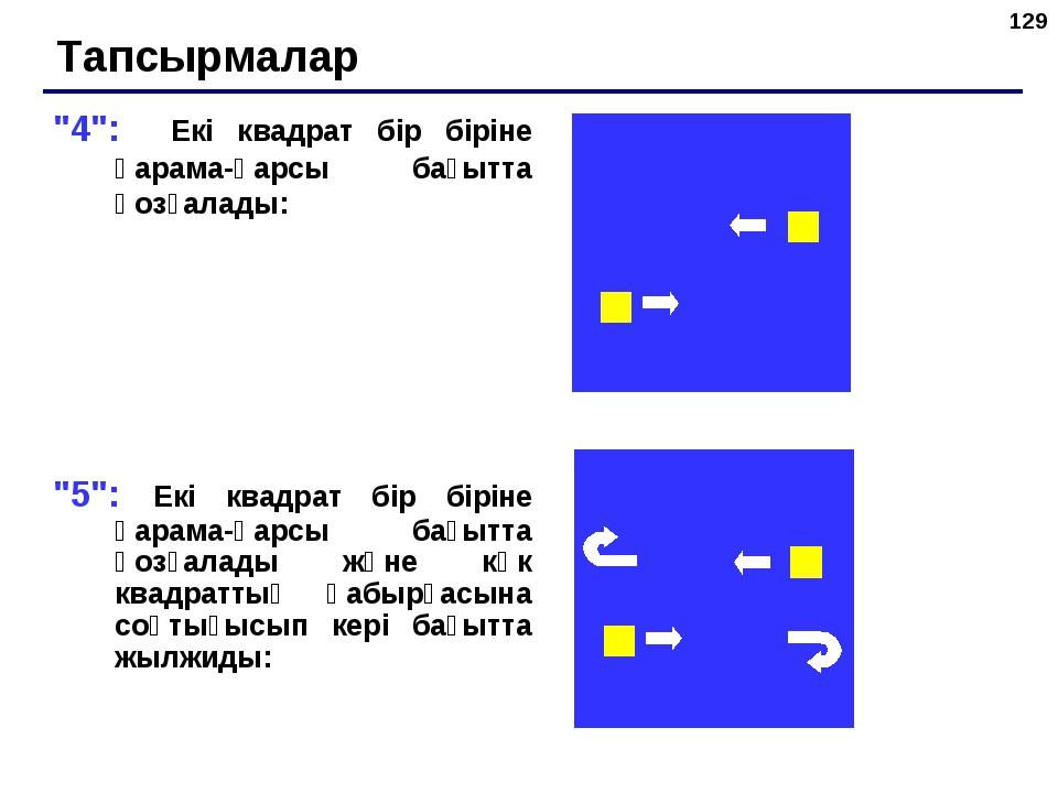 """* """"4"""": Екі квадрат бір біріне қарама-қарсы бағытта қозғалады: """"5"""": Екі квадра..."""