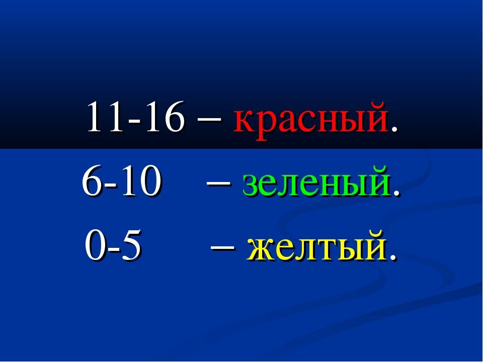 11-16  красный. 6-10  зеленый. 0-5  желтый.
