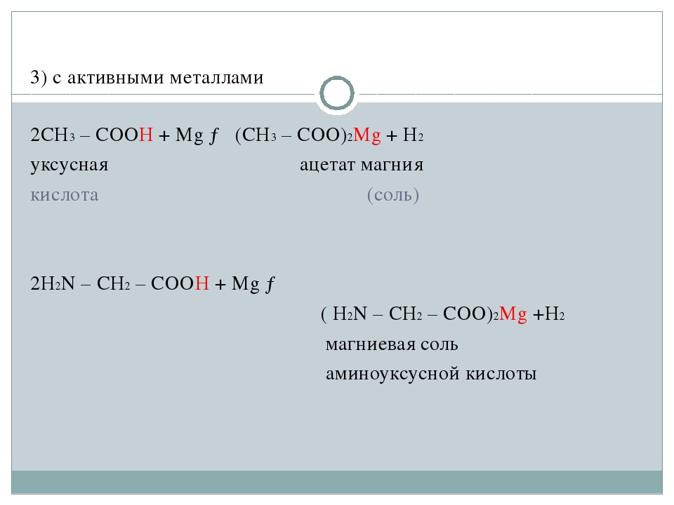 3) c активными металлами 2CH3 – COOH + Mg → (CH3 – COO)2Mg + H2 уксусная...