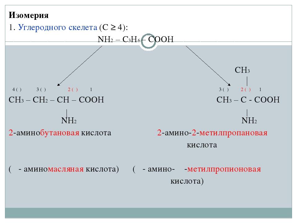 Изомерия 1. Углеродного скелета (С ≥ 4): NH2 – C3H6 – COOH...
