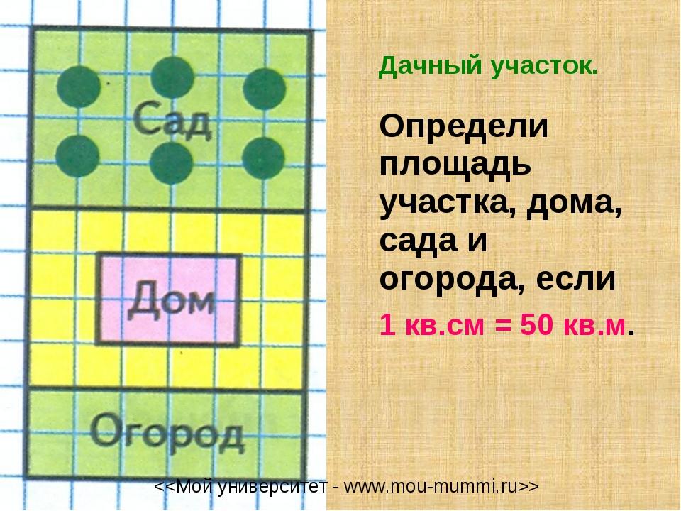 Дачный участок. Определи площадь участка, дома, сада и огорода, если 1 кв....
